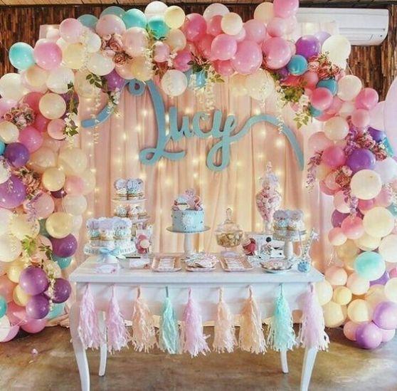 ideias de mesas em decoração de festa de unicornio