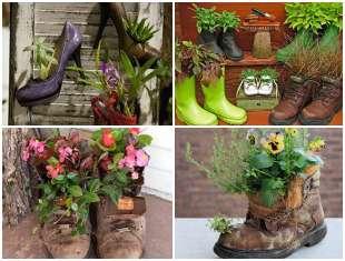 Vasos criativos com sapatos velhos