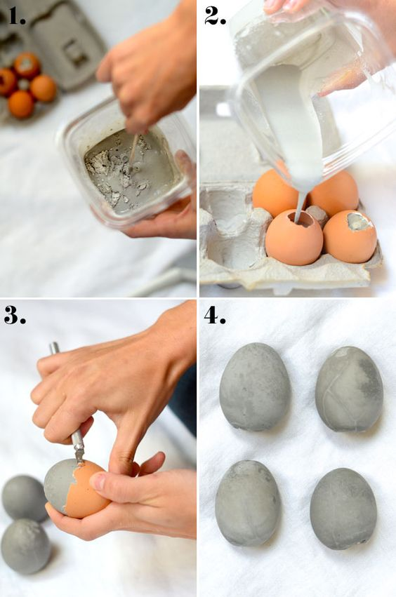 como fazer ovos de páscoa de cimento