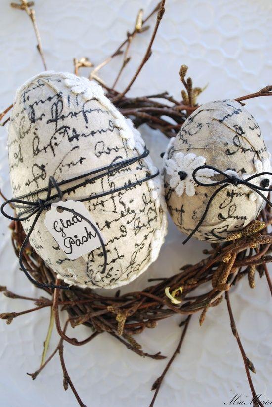 decoupage na decoração de ovos de páscoa