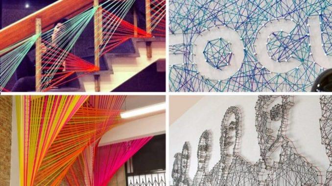 decoração com fios coloridos