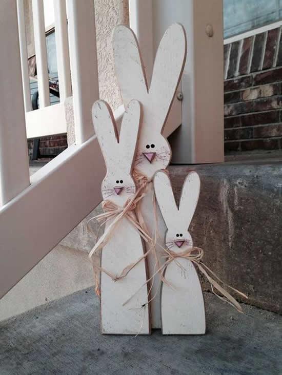 Coelhinhos de Madeira para Decoração