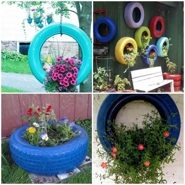 Ideias com Pneus para Jardim