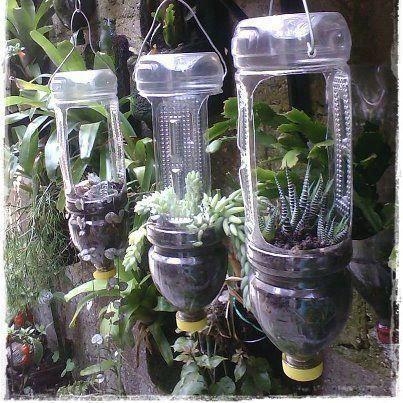 lindo trabalho em garrafas plásticas