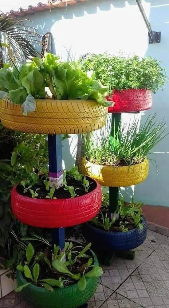 Ideias para fazer Vasos com Pneus