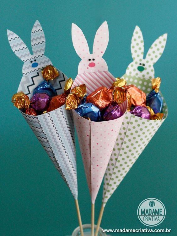 cones de coelhinho lembrancinhas de páscoa
