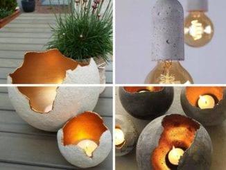 porta velas de cimento ou concreto e luminárias (8)