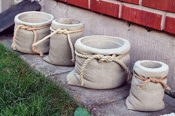 vasos de cimento ou concreto