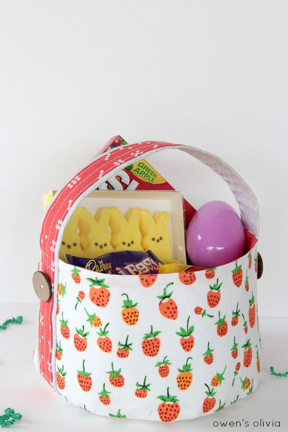 ideias de cesta de páscoa em tecido
