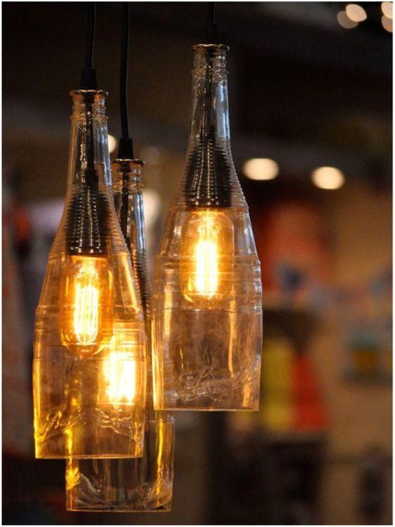 lustre de vidro reciclado