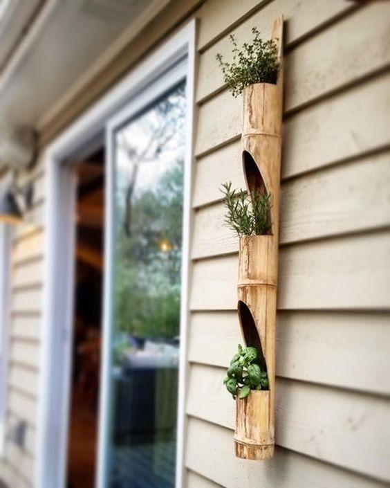 vaso vertical de bambu