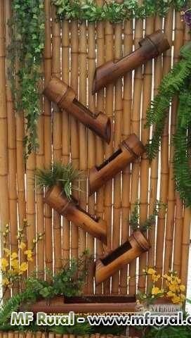 vaso vertical em bambu