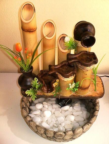 fonte com bambu
