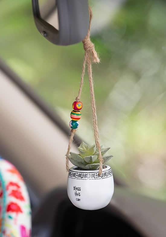 Enfeite para Carro com Mini Suculenta