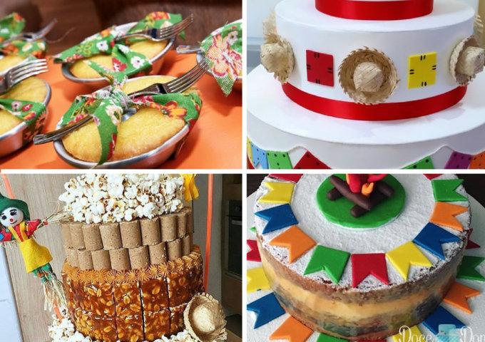 decoração em bolos juninos