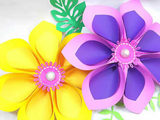 Decoração com Flores de Papel - Moldes Fáceis