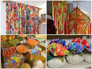 Decoração para Festa Junina com Tecido Chita