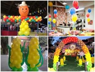 Enfeites com Balões para Festa Junina
