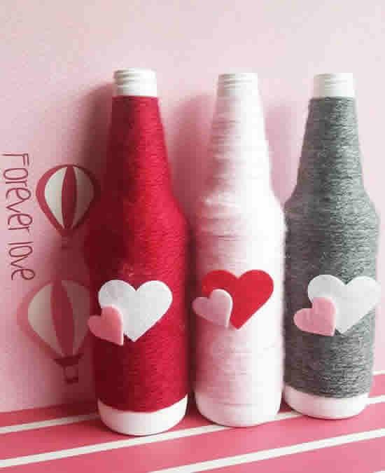 Decoração com Garrafas para Dia dos Namorados