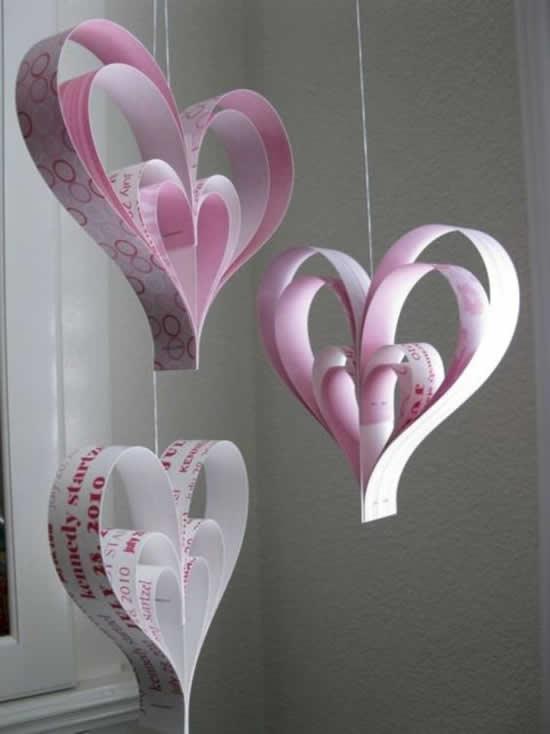 Guirlanda com Papel para Dia dos Namorados