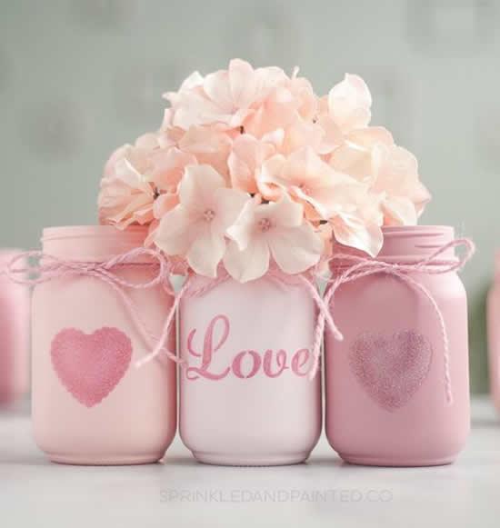 Decoração e Presentes com Potes para Dia dos Namorados