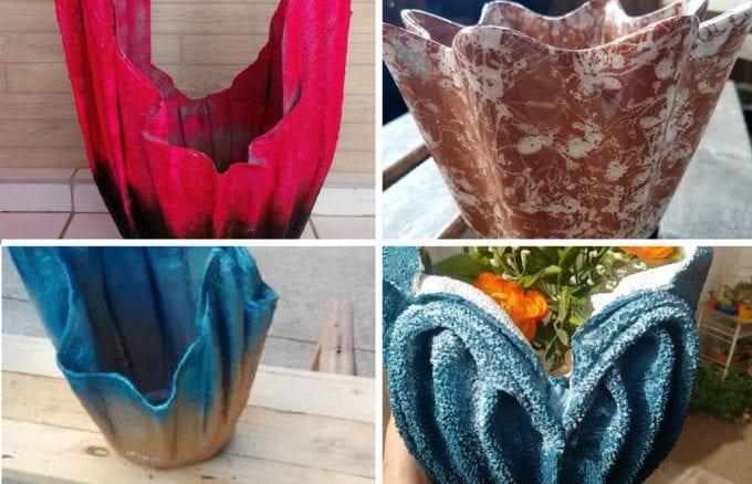 vasos de cimento e toalha