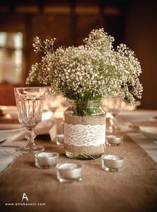 Enfeite com pote de vidro para mesa