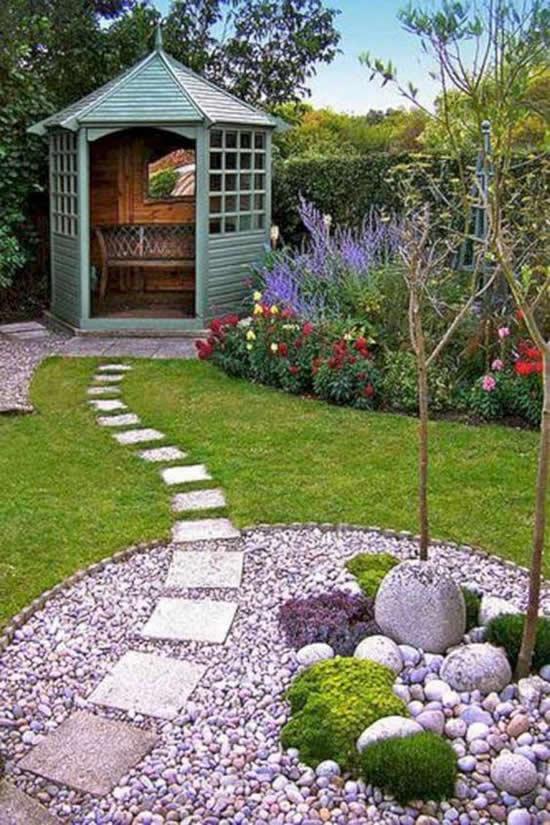 Lindas decorações com pedras para jardim