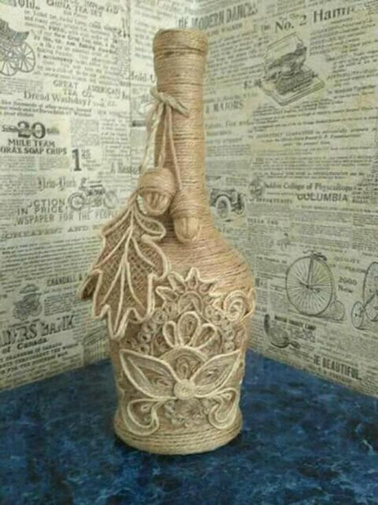 Decoração com barbante para garrafas