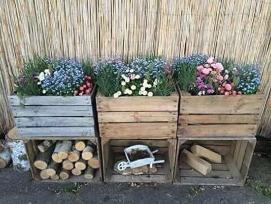 Decoração com caixote para jardim