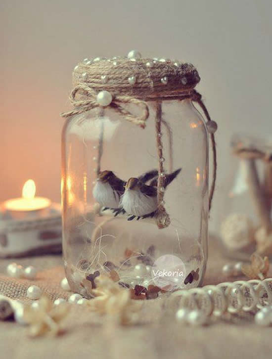 Enfeite com pote de vidro