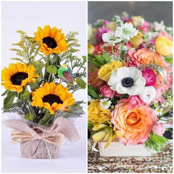 Decore mesas com arranjos de flores lindos