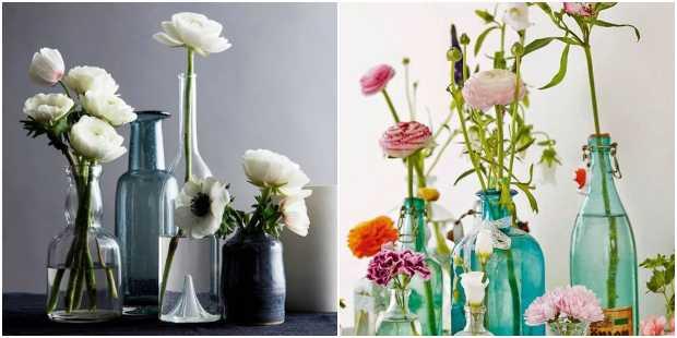 Arranjos de flores com garrafas de vidro