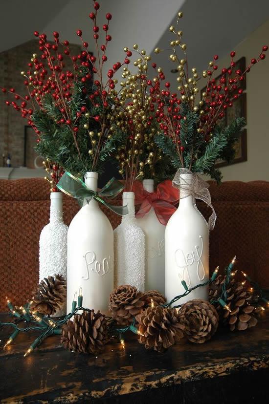 Linda decoração com garrafas para o Natal