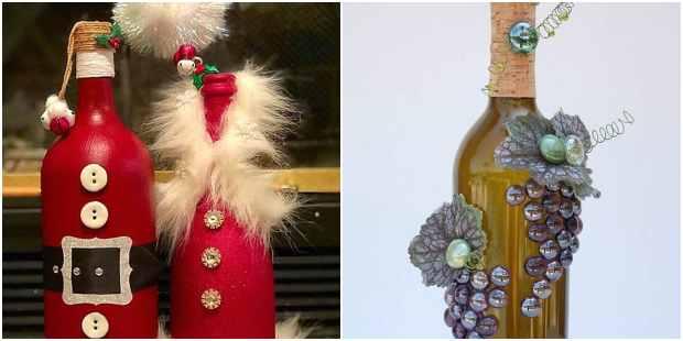 Garrafas de vidro decoradas para Natal