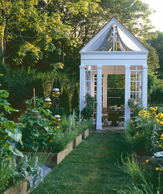 Decoração com gazebo para jardim