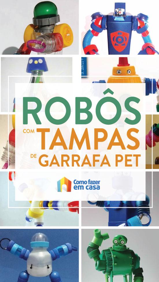 Robô de brinquedo com tampa de garrafa PET