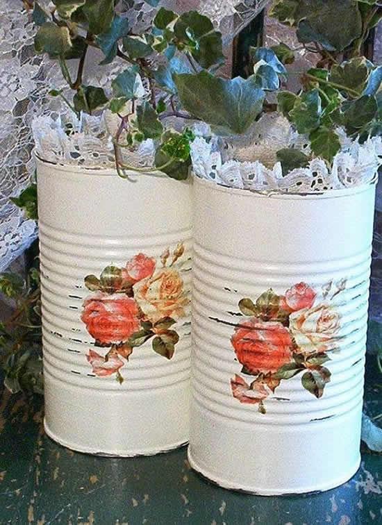 Vaso decorativo com lata