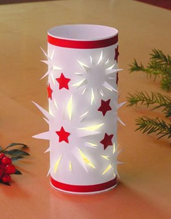 Decoração com rolos de papelão para Natal
