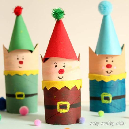 Decoração linda para o Natal com rolos de papel