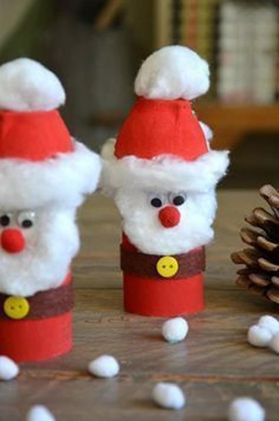 Enfeite com rolos de papelão para Natal