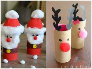 Artesanatos com rolos de papelão para o Natal