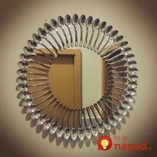 Decoração de espelho com colheres de metal