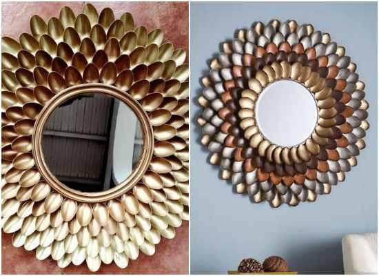 Decoração de espelho com colher de plástico