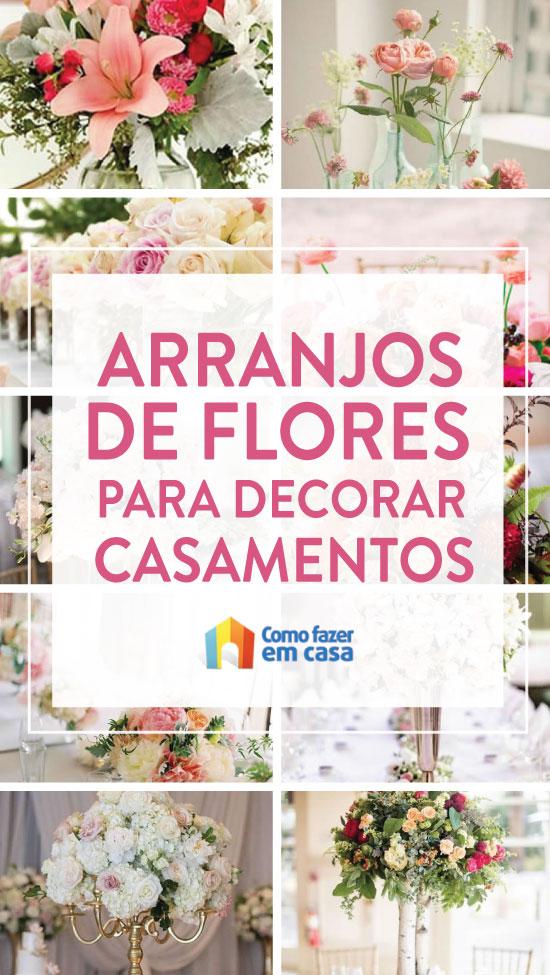 Decoração com arranjos de flores para casamento