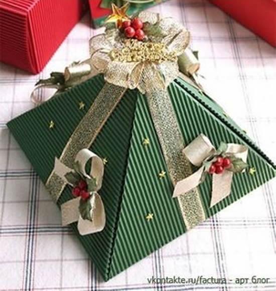 Caixinha Piramide Para Natal Com Molde Como Fazer Em Casa