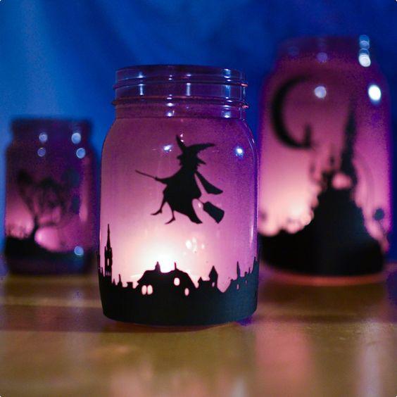 Potes iluminados de Dia das Bruxas