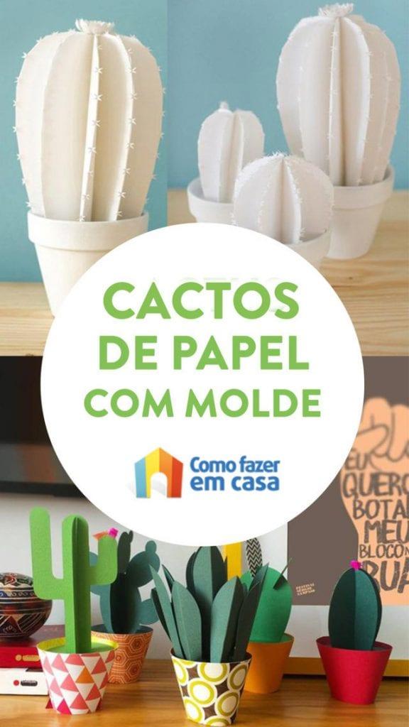 Cactos de papel com molde