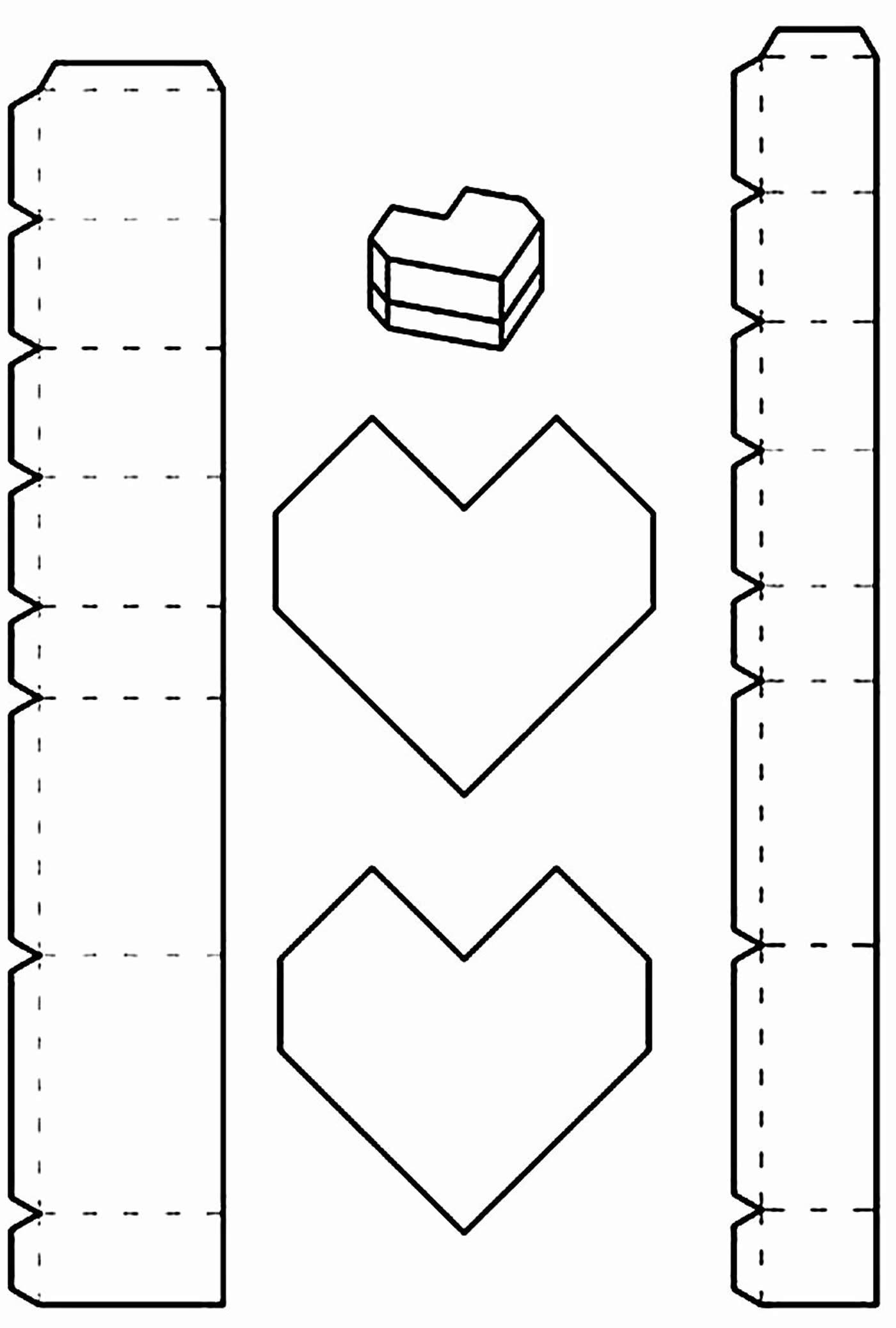 Molde para caixinha coração de papel