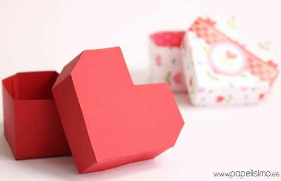 Caixinha coração de papel com molde